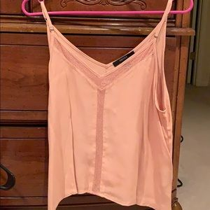 Forever 21 mauve/baby pink net tank top flowy